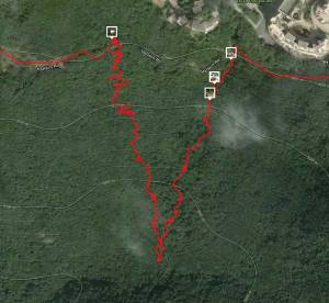 Route from Strava showing the path down and up from Harlech Road to Hong Kong Trail and back