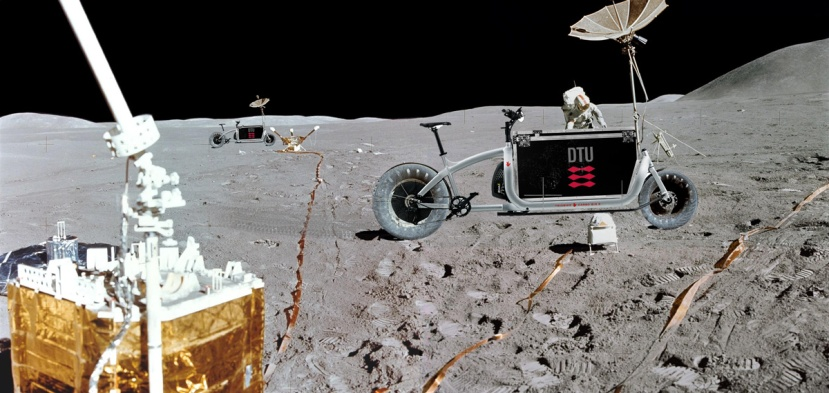 A cargo bike on the lunar surface