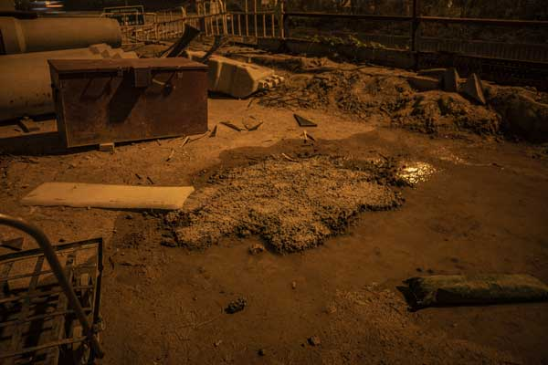 Pools of stagnant water at a dirty building site in West Kowloon