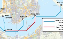 A map byt Transit Jam of the new Water Taxi service announced by the government of Hong Kong