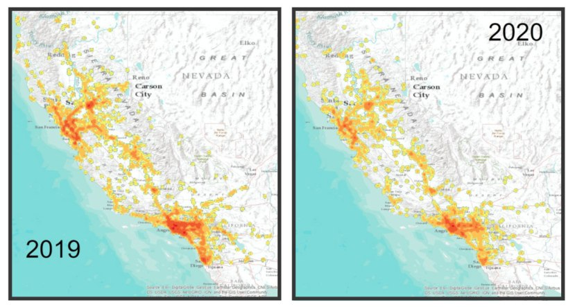 map of california from 2019 and 2020 showing reduction in accident hotspots under COVID-19 lockdowns