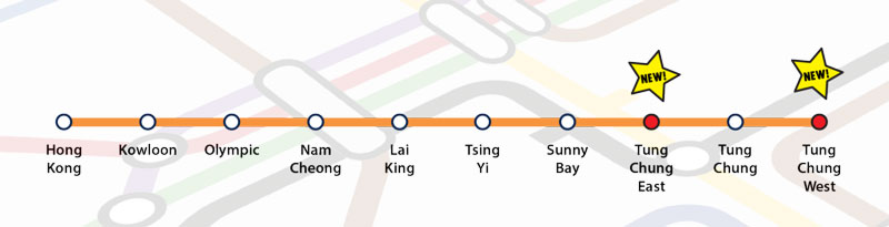 A metro map of the Tung Chung line in Hong Kong showing two new stations, Tung Chung West and Tung Chung East