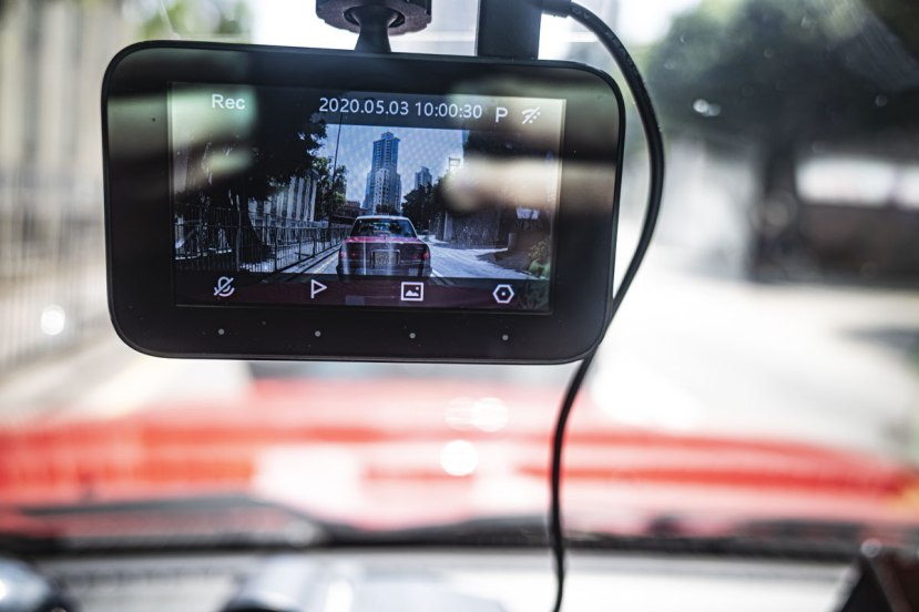 A dashcam in a Hong Kong taxi