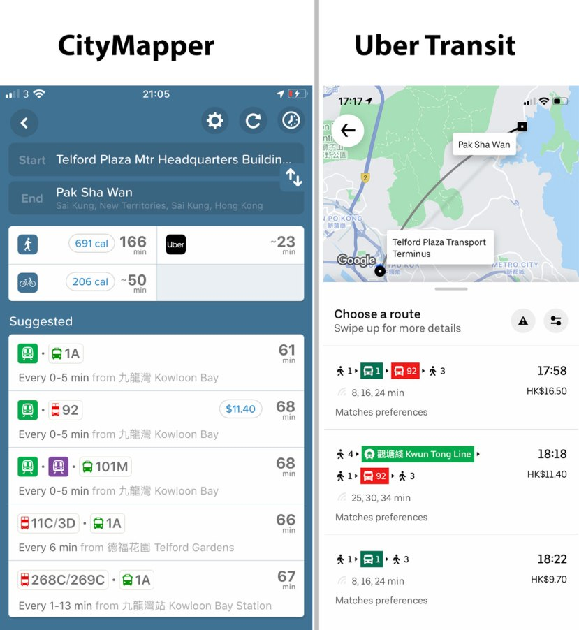 Two screenshots of transit apps, CityMapper which gets the route right and Uber Transit which makes a mistake in the minibus number