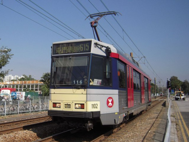 A Light Rail train in Hong Kong