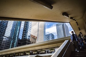 Glimpse of sky through a walkway in Wan Chai