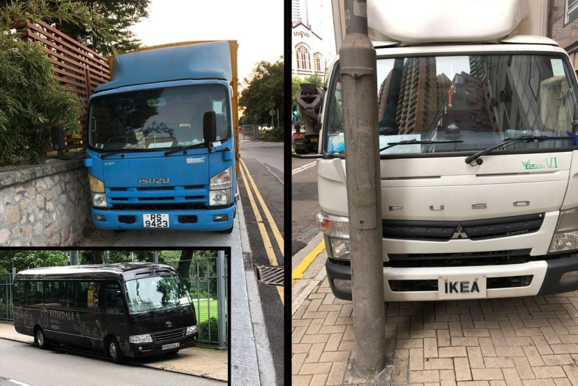 Trucks parked on the pavement in Hong Kong including one from IKEA and one from Rosedale Hotels